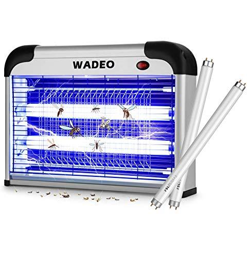 WADEO Lampe Anti Moustique Electrique Intérieur et Extérieur Tue Mouches 20W UV LED, Piège à Moustique Tueur pour Maison Bureau, avec 2 Ampoules de Rechange, Efficace Portée 50-150m²