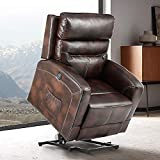 eclife Massage Electric Power Lift Recliner Chair with Lumbar Heating, Ergonomic Lounge Chair, Reclining Sofa for Living Room, Side Pocket, USB Ports & Remote Control (Power Lift, Brown+PU)