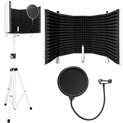 AxcessAbles SF-101KIT-W Recording Studio Microphone Isolation Shield with Tripod Stand (White) 4' to 6' 6