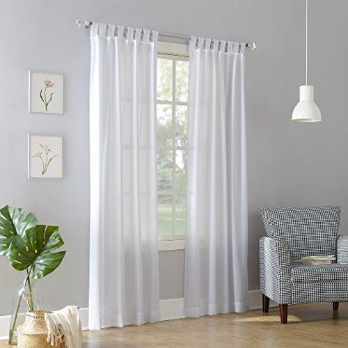 "No. 918 Trevor Heathered Texture Semi-Sheer Tab Top Curtain Panel White, 40"" x 84"" Panel"
