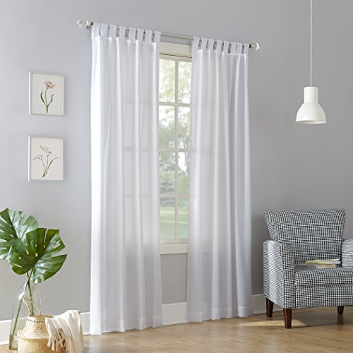"No. 918 Trevor Heathered Texture Semi-Sheer Tab Top Curtain Panel White, 40"" x 84"" Panel"