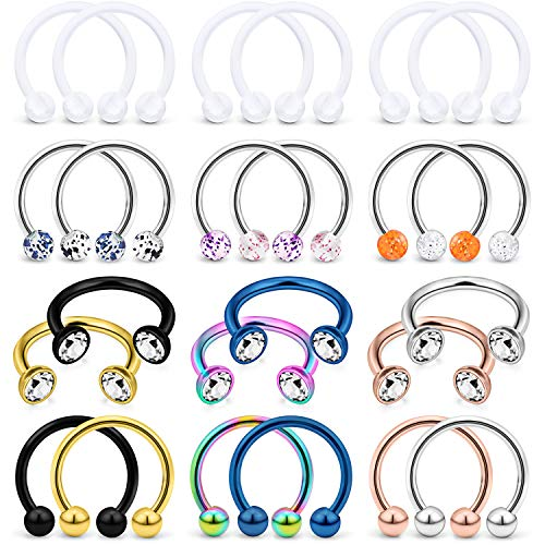 Lcolyoli 24Pcs 16G Surgical Steel Nose Septum Rings Piercing Jewelry Externally Threaded Cartilage Helix Tragus Earring Hoop Lip Horseshoe Retainer for Women Men 10mm Sliver Rose Gold Black Ball CZ