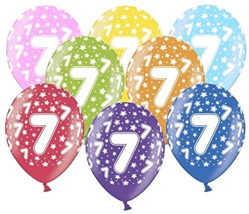 Libetui 10 kunterbunte Luftballons Metallic 30cm Deko zum Geburtstag Party 7.Kindergeburtstag Happy Birthday Dekoration (Zahl 7)
