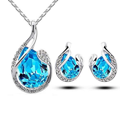 Joyas explosivas Pendientes de collar de gota de cristal de moda coreana Conjunto de joyería nupcial de moda