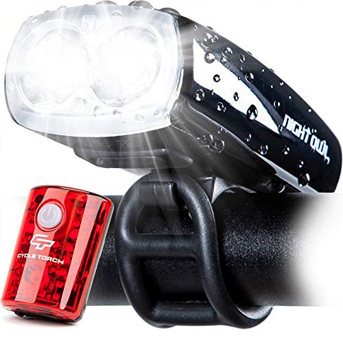Cycle Torch Night Owl USB Rechargeable Bike Light Set, Perfect Commuter Safety Front and Back Bicycle Light LED Combo – USB Tail Light Included - Compatible with Mountain, Road, Kids & City Bicycles