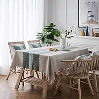ホーム装飾Wipeableテーブルクロス長方形は、子供の表色140X250cmためのストライプコットンやリネン防水テーブルクロスをチェック XYXG (Color : Dark Green, Size : 120x160cm)