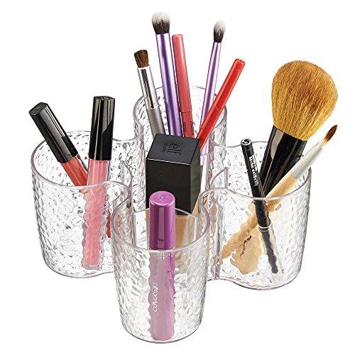 mDesign Porta Pinceles de Maquillaje - Organizador de brochas de Maquillaje - Organizador de cosméticos para el Lavabo o tocador de Maquillaje - Transparente