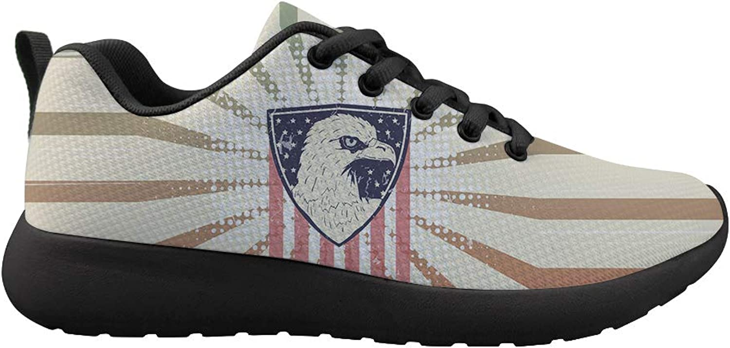 Owaheson Cushioning Sneaker Trail Running shoes Mens Womens American Flag Bald Eagle Seal Badge