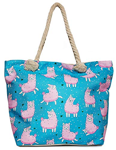 Llama Beach Shoulder Tote Bag - Baby Blue With Pink Llama Weekender Travel Bag - Comes with Quick Reach Zipper Pouch