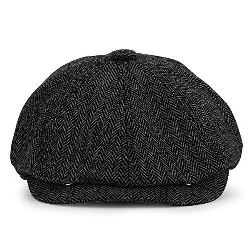 KeepSa Newsboy Cap Baker Boy Hat Flat Caps - 8 Panel Peaky Fischgräten-Tweed Gatsby Hut Ivy Irish Cap für Damen und Herren Gr. 7 1/8/7 3/8, Schwarz