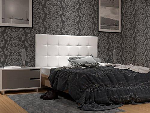 LA WEB DEL COLCHON - Cabecero tapizado Corfú para Cama de 135 (145 x 120 cms) Blanco | Cama Juvenil | Cama Matrimonio | Cabezal Cama |