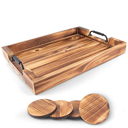 Large Serving Tray with Handles Large Ottoman Tray Wooden Tray with Set of 4 Coasters Breakfast Tray and Bed Tray for Breakfast in Bed Dinner Tray Lap Tray for Watching TV on The Sofa
