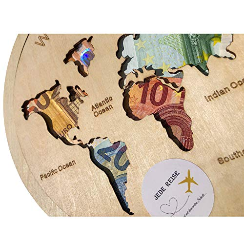 Geldgeschenk Weltkarte als Bilderrahmen oder Puzzle aus HOLZ, Hochzeitsgeschenk, Geburtstagsgeschenk, Geldverpackung, Hochzeitsidee, besonderes Geschenk (Weltkarte)