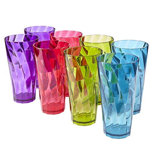 Optix 26-ounce Plastic Tumblers | set of 8 in 4 assorted colors