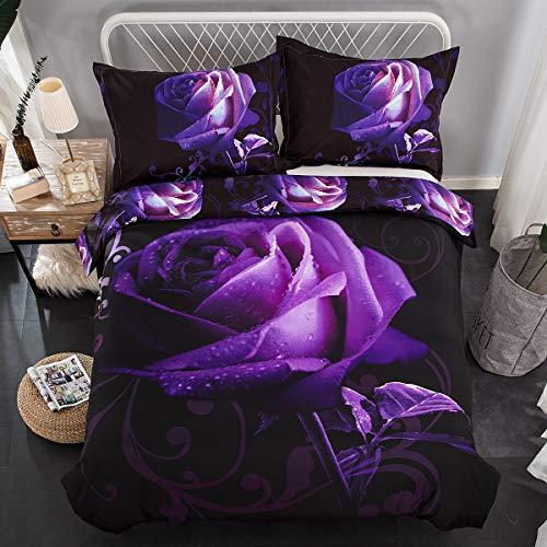 Lila påslakan dubbelt 3 delar vändbart lila rosmönster tryckt sängkläder täcke med dragkedja stängning mjukt mikrofiber påslakan för flickor 200 x 200 cm