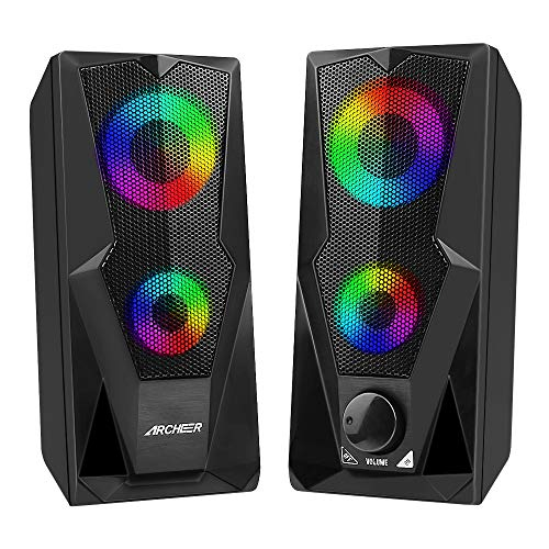Computer Speakers Gaming RGB Speakers PC 2.0 USB Powered Stereo Volume Control,ARCHEER Dual-Channel Multimedia Speakers with LED Light for Desktop PC Laptop Tablet Smartphones(10W)