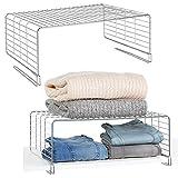 mDesign Juego de 2 cestas metálicas para armarios – Moderno separador de...