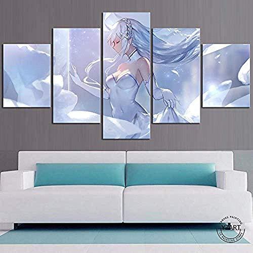 DEZYSDPLXD 5 Tafeln Wandkunst Gemälde HD-Druck 5 Leinwandbilder bilden EIN Gemälde, das für die Heimdekoration und das Poster verwendet Wird. Emilia Ray: Zero Anime Poster (150 x 80 cm, Rahmenlos)
