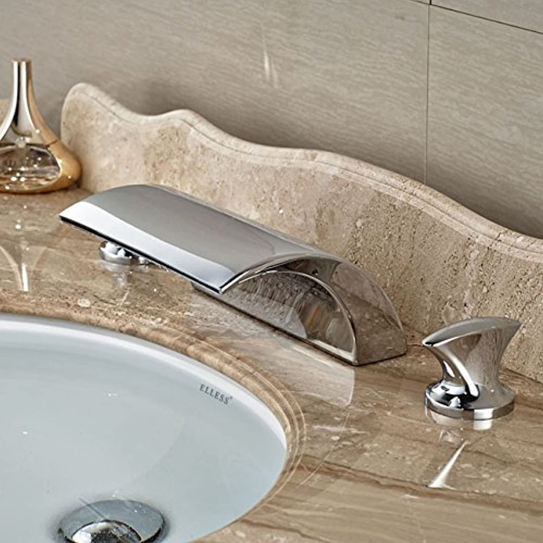U-Enjoy Chrome Brass Dual Top Quality Handle Waterfall Curve Spout Bathroom Faucet Wash Mixer Taps Deck Mount 3 Holes (Led Style 9)
