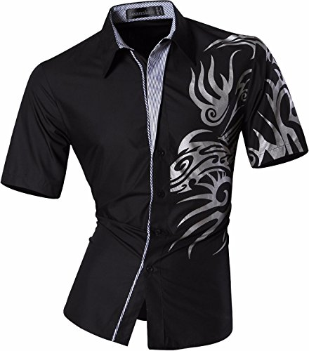 Jeansian Homme Chemises Casual Manche Courte Shirt Tops Mode Men Slim Fit Z031 Black M