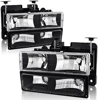 88-02 Chevy/GMC C10 Truck Black Housing Headlight + Bumper Parking Light 4PC Combo Set