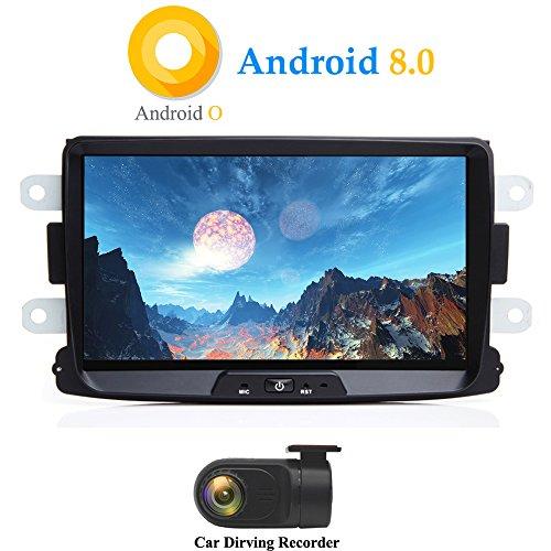 XISEDO Android 8.0 in-Dash 1 Din 8 Pouces Autoradio Voiture Radio à Écran Tactile 8-Core RAM 4G ROM 32G Car Radio Système de Navigation GPS pour Dacia Sandero/Renault Duster/Lada Xray 2 (avec DVR)