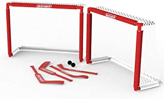 HockeyShot Knee Hockey Set | Mini Hockey Sticks | Mini Hockey Nets | Great for Kids | Indoor Floor Hockey