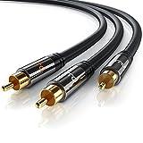 Primewire - 2m HQ Y Subwoofer Cable - 1x Conector RCA Macho a 2X Conectores RCA Macho - Conector metálico de precisión - Serie