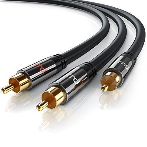 1,5m Cinch Audio Kabel - Koaxialkabel - Subwooferkabel - AUX Eingänge Audio - Digitales Audiokabel - 1 Cinch-Stecker zu 2 Cinch-Stecker - für Verstärker Stereoanlangen HiFi Anlagen & andere Geräte