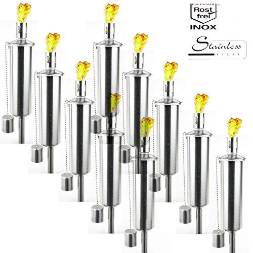 10 Stück Gartenfackel EDELSTAHL Fackel Öllampe 122cm hoch Gartenfeuer Silber Partyfeuer Feier Ölampe Garten von Smartweb