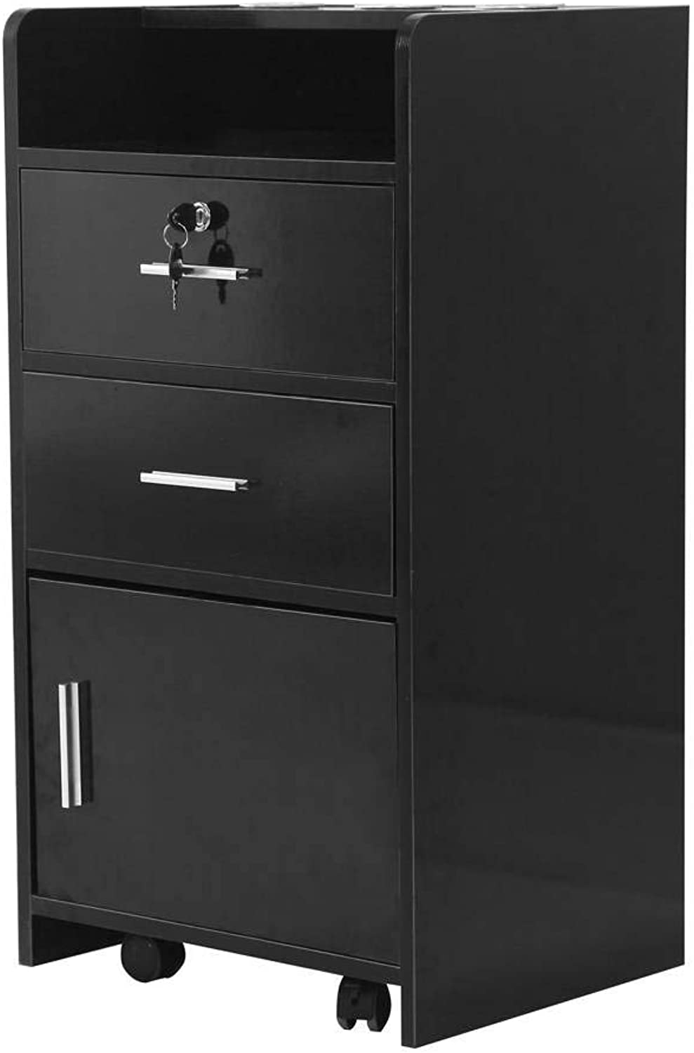 Salon Wood Rolling Drawer Cabinet Trolley Spa 3-Layer Cabinet Equipment with A Lock Black