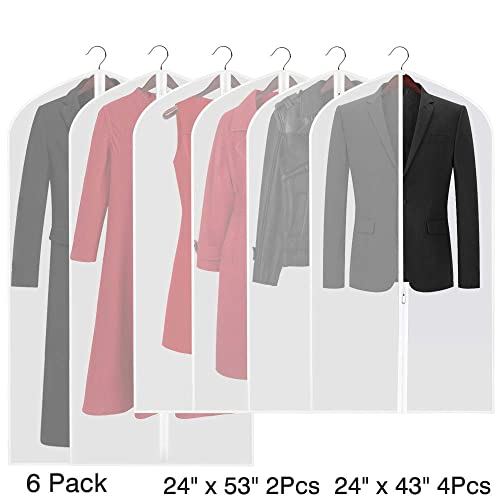 Etmury Garment Bags Translucent Moth-Proof Hanging Clothes Storage Covers  for Suits or Dress Closet 3a62d8023106a