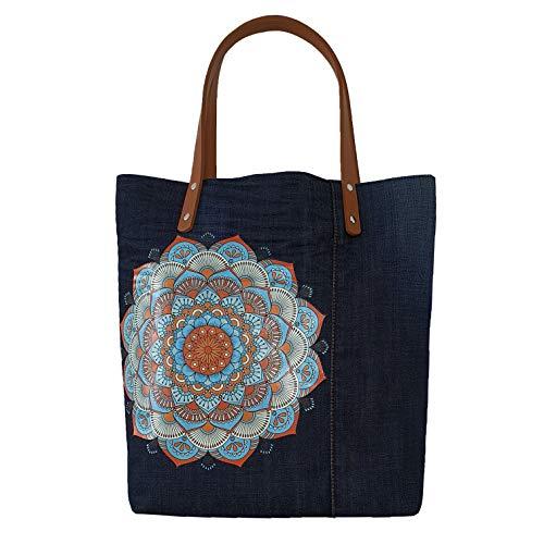 Handtasche mit Stickerei, Ethno Motiv Mandala Schultertasche, Modern Indien Goa Tasche, Ethnischer Stil Shopper umweltfreundlich