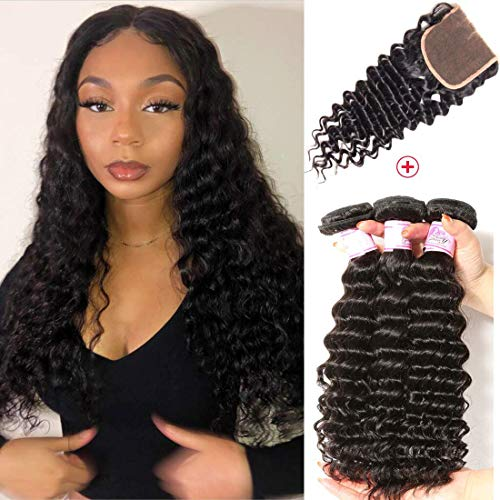 Beauty Forever Hair 8A Grade Malaysian Deep Wave 3 Bundles with Lace Closure 4X4 inch Free Part Unprocessed Virgin Human Hair Deep Curly Bundles with Lace Closure Natural Color(16 18 20+14 closure)