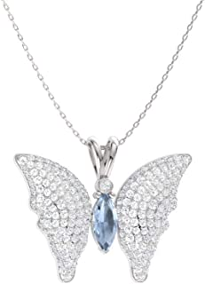 Natural and Certified Marquise Cut Gemstone and Diamond Butterfly Necklace in 14k Solid Gold | 1.29 Carat Pendant with Chain