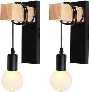 iDEGU Lot de 2 Applique Murale Intérieur Vintage Industrielle Lampe Murale E27 Luminaire Abat-jour en Métal avec Support e...