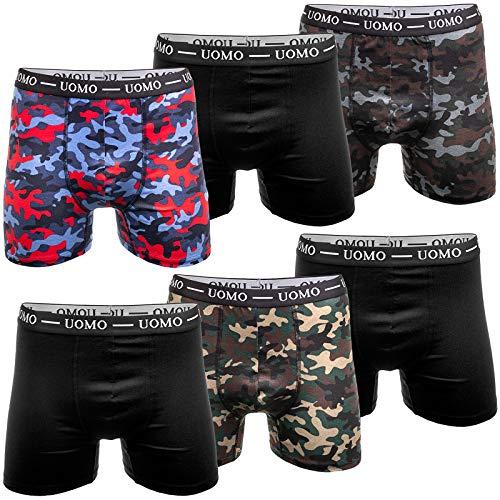 UOMO 6er Pack Herren Boxershorts Unterwäsche Retroshorts Unterhose M L XL 2XL 3XL 4XL Baumwolle Camouflage XL 3X Camouflage 3X Schwarz