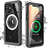 Nineasy for iPhone 12 Magsafe Case, iPhone 12 Waterproof Case, Compatible with Magnetic Wireless Charger, with Built-in Screen Protector Full Body Protective Heavy DutyCase for iPhone 12 5G 6.1''