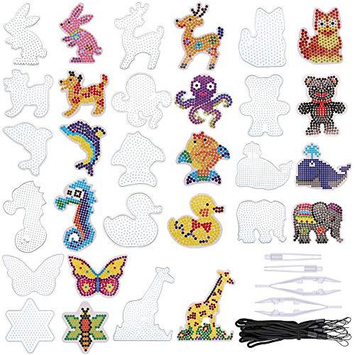 MAMUNU Bügelperlen Platten, 15 Stück Tier Bügelperlen Stiftplatte in vielen Formen, Klare Kunststoff-Sicherung Perlen Steckbretter Vorlage Perlen Boards für Kinder Bastelbedarf