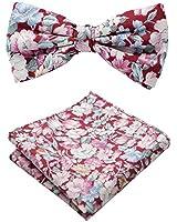 ELZAMA Men 100% Cotton Floral Print Skinny Ties, Flower Bowtie, Pocket Square Tie Clip Gift Set (1 Red 1)