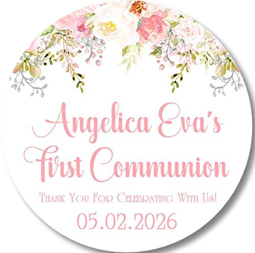 Girls Pink Free shipping Floral First Holy Communion Favor Dedication Labels T Sticker or