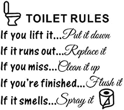 Bestjybt DIY Removable Toilet Rules Bathroom Decals Wall Quotes Stickers Vinly Art Decor Home Decorations