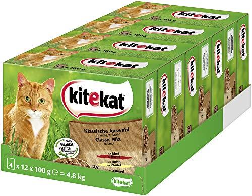 Kitekat Katzenfutter Nassfutter Klassische Auswahl in Sauce, 48 Portionsbeutel (4 x 12 x 100g)