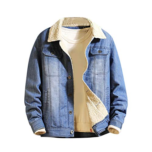 Veste en Jeans, huichang Blouson Jacket Homme Manteau Manches Longues Plus Velours Homme Veste en Jeans Hiver Chaud Epais Blouson Trucker Sherpa Manteau en Denim Jacket