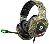 Soulion Tracer 25 Gaming Headset for PS4 Xbox One PC, Stereo Surround Sound Gaming Headphones with Noise Cancelling Microphone, RGB Lights for Computer Laptop Nintendo Switch Mobile