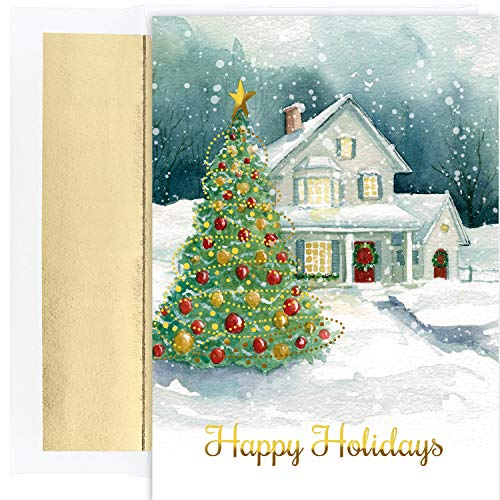 Masterpiece Studios Holiday Collection 18-Count Christmas Cards / 18 Foil Lined Envelopes, Winter Cottage