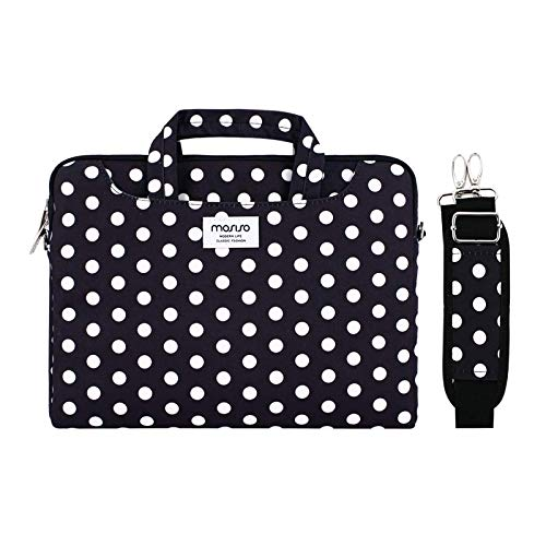 MOSISO Laptop Shoulder Bag Compatible with MacBook Pro 16 inch A2141/Pro Retina A1398, 15-15.6 inch Notebook, Dots Carrying Briefcase Sleeve with Trolley Belt, Black