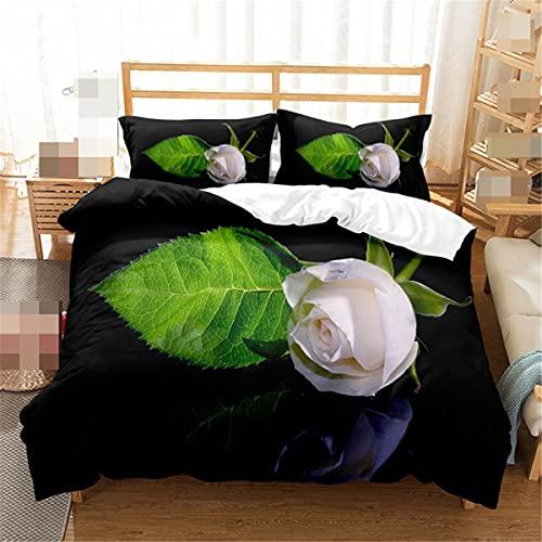 Happy Rose Day 3D impresión ropa de cama conjunto patrón floral individual doble funda de edredón almohada pareja regalo ropa de cama