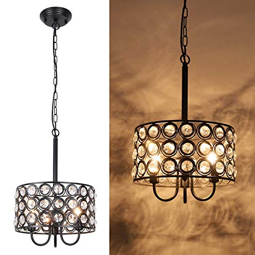 HMVPL Crystal Pendant Lighting Fixtures, 3-Lights Modern Hanging Chandeliers Ceiling Lamp with Chain for Kitchen Island Dining Room Foyer Hallway Entryway Farmhouse Closet