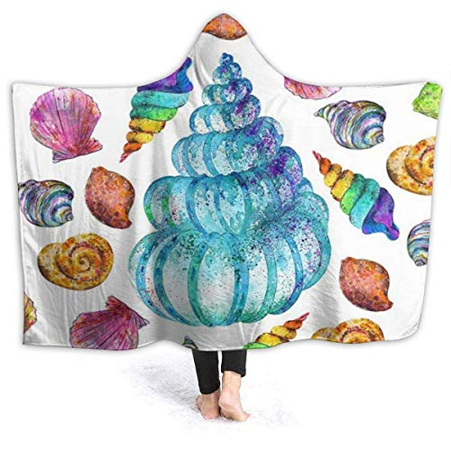 XCNGG Manta con Capucha Colorful Sea Shell Hoodie Wearable Blanket Flannel Premium Sofa Blanket Windproof Hooded Throw Wrap Thermal Hooded Blanket Comfy Hoodie Blanket for Bed Couch Car